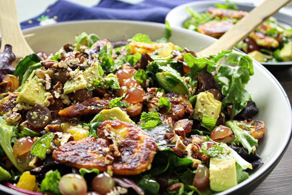 pan-fried halloumi salad in a large bowl